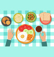 breakfast eating food on plates and man hand on vector image