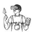 builder in virtual reality helmet engraving vector image vector image