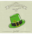 Card for St Patricks Day with green hat vector image vector image