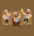 cartoon flat fat sailor man character set vector image vector image
