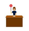 cartoon woman judge jury character showing or vector image vector image