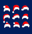 christmas red hats icon set santa claus costume vector image vector image
