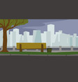 city park in the evening bench skyscrapers vector image