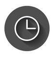 clock icon flat clock pictogram with long shadow vector image vector image