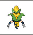 cute corn hero kids hero design vegetables vector image