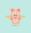 cute pig with gold vector image vector image