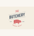 emblem butchery meat shop with pig silhouette vector image vector image
