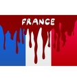 flag France in concept the blood flowing on the vector image vector image