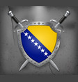 flag of bosnia and herzegovina the shield with vector image vector image