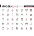 flower pots for home garden flat thin red black vector image vector image
