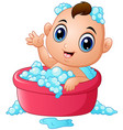 funny little baby having bath with soap foam in a vector image
