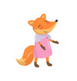 funny orange fox character humanized forest vector image