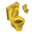 Gold toilet bowl isometric on white background Sin vector image vector image