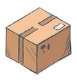 hand drawn box with purchase delivering parcel vector image vector image
