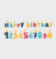 happy birthday text candles and numbers vector image vector image