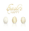happy easter card with golden eggs vector image