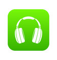 headphones icon digital green vector image vector image