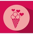 heart red cartoon ice cream icon design vector image vector image