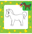 horse coloring page vector image vector image