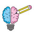 idea brain working cartoon vector image vector image