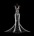 lace wedding dress on a hanger vector image vector image