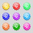 Laptop icon sign symbol on nine wavy colourful vector image