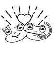 line cute frog couple animal with heart design vector image vector image