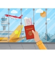 man with passport and ticket inside airport vector image vector image