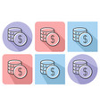 outlined icon coins stack with parallel and vector image