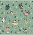 owl leaves seamless pattern owl vector image vector image