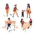 people outdoor isolated characters walking and vector image vector image