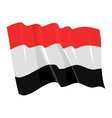 political waving flag of yemen vector image vector image