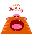 Red cat with open mouth card vector image