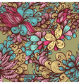 Seamless bright hand drawn floral pattern vector image vector image