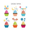 set cupcake toppers vector image vector image