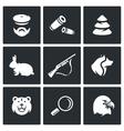 set hunting icons hunter ammunition vector image