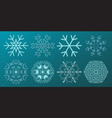 set of snowflakes christmas design vector image
