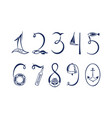 set of the marine numerals hand drawn vector image vector image