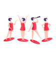 set woman character poses in red modern style vector image vector image