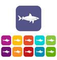 shark fish icons set flat vector image vector image