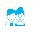 silhouette nice couple with hairstyle design vector image
