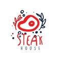 steak house logo since vintage label colorful vector image vector image