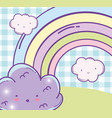 surprised fluffy cloud and beauty rainbow vector image vector image