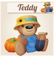 teddy bear gardener farmer cartoon vector image vector image