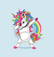 unicorn cute full colour dabbing artwork vector image vector image
