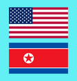 usa and north korea flags vector image vector image