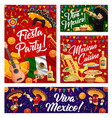 viva mexico banners with mexican sombrero and food vector image vector image
