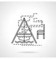 Campfire flat line icon vector image