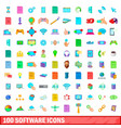 100 software icons set cartoon style vector image vector image
