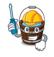 automotive wooden bucket mascot cartoon vector image vector image